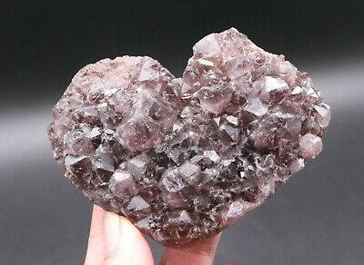 378g NATURAL SMOKY QUARTZ CRYSTAL GEODE CLUSTERS POINT HEART