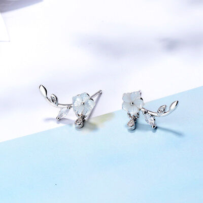 925 Sterling Silver Cherry Blossoms Flower Branch Line Stud Drop Earrings Gift