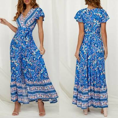 Evening party summer sundress dress beach floral long maxi cocktail Women's boho
