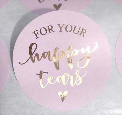 Happy Tears colour stickers label /& Bag wedding foil rose gold,silver  x20