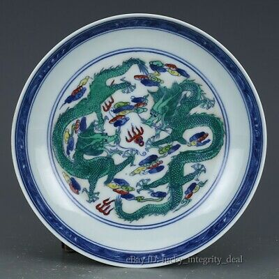 Beautiful Chinese Antique Dou-cai double Dragon Porcelain Plate