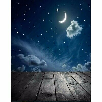 AU 3x5FT Backdrop Moon Wooden Floor Photography Background Valentine's Day