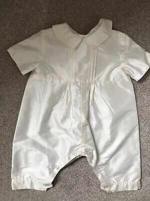 Bnwt Traditional Ivory Satin Boy Christening Naming 0-3months
