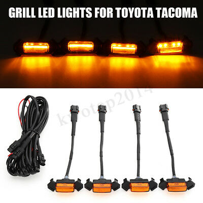 Grille Grill Led Lights For Toyota Tacoma Trd Amber Leds 2016-2019 W/Wire 4Pcs