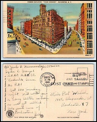 "NEW YORK Postcard - Rochester, Powers Building ""Four Corners"" L15"