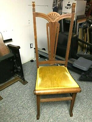Antique High Back Accent Dining Living Room Parlor Wood Chair Gold Velvet Seat