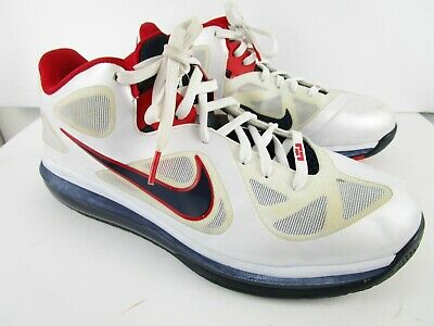 release date: 2c084 432ed Nike Air Max LEBRON IX 9 USA OLYMPIC WHITE OBSIDIAN BLUE RED 510811-101 Size