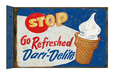 """Stop Dairy-Delights Ice Cream 22g Metal 12""""x18"""" Flange Sign  Reproduction"""