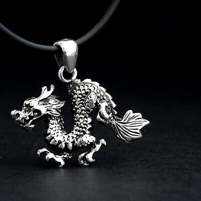 NEW Mens Fine Jewelry 925 Sterling Silver Gothic Dragon Pendant Necklace For Men