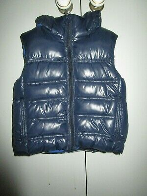 Boys Lily & Dan navy padded vest with zip front  and removable hood  Size 3