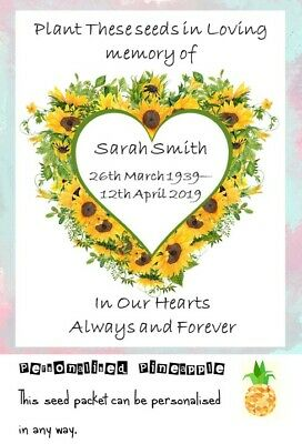 Funeral Seed Packet Flowers Sunflower Memorial Remembrance Favour Personalised