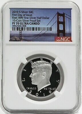2019 S First Day of Issue Kennedy Half PF70 NGC Bridge Label First .999 Silver