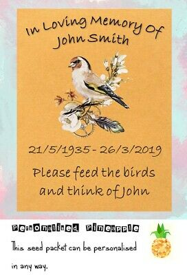 Funeral Bird Seed Packets Memorial Remembrance Favour Brown Personalised