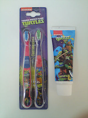 Nickelodeon Teenage Mutant Ninja Turtles Toothpaste & Twin Pack Toothbrushes