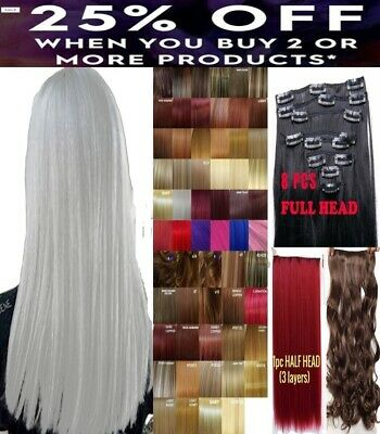 Hair Extensions Clip in Hair real Human Feel Brown Blonde White Red Plum Pink