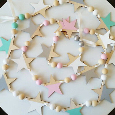 Wooden Star And Beads Garland Hanging Banners Girl Baby Room Wall Decor MP
