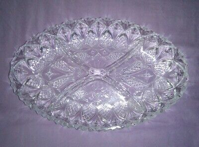 Vintage Cut Glass Divided Serving Bowl / Dish - Ideal Nuts, Candy, Olives Etc.