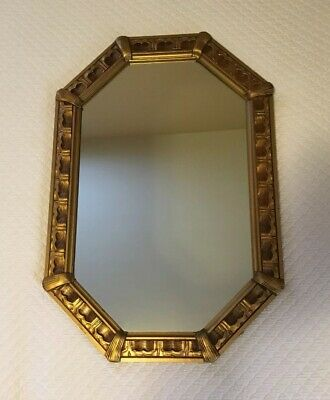 Vintage 8 sided Oval Gold Gilt Wall Mirror Hollywood Regency