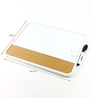 Large Magnetic White Cork Board Drywipe Board with Marker & Magnets
