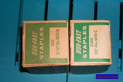 "2 BOXES Duo-Fast Staples 5016-C 1/2"" + 5018-C 9/16 NEW OLD STOCK PRICED TO SELL"