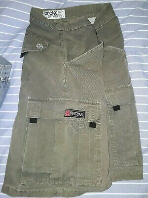 Broke Clothing Cargo Short Pants Medium Hip-hop Skateboarding Vintage 90s