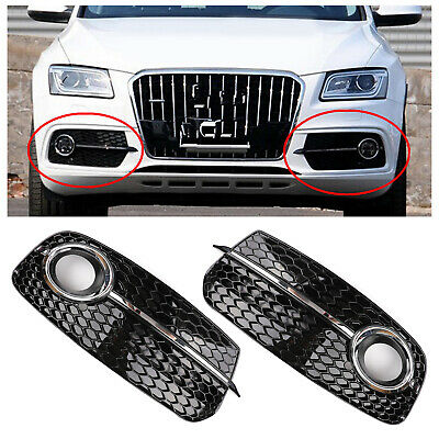 Upgrade SQ5 Style Fog Light Grill Grille For AUDI Q5 13-17 Don't Fit SQ5 &SLINE.