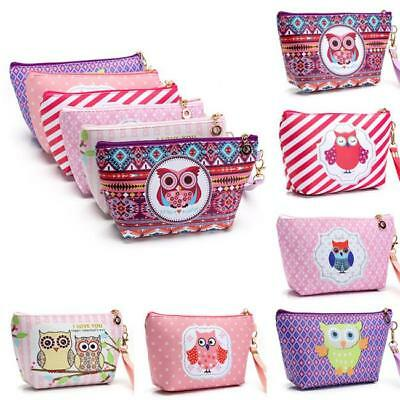 Cute Portable Owl Cosmetic Pouch Zip Toiletry Organizer Travel Makeup Clutch Bag