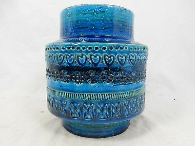 "Beautiful Aldo Londi design Bitossi  "" Rimimi blue "" pottery  vase Italy 772"