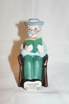 "Vintage Made in Japan Ceramic Bank ""Saving For My Old Age"""