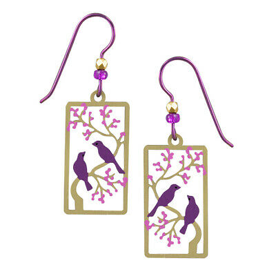 Sienna Sky Purple Birds in a Cherry Tree Pierced Earrings ~Handcrafted in USA~