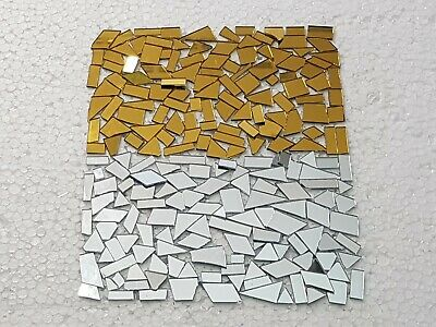400 pieces, Mixed Offcuts Gold & Silver Glass Mirror, 1mm thickness, Art&Craft