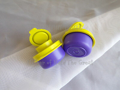 TUPPERWARE SMIDGET SALT AND PEPPER SHAKER SET Spice Small Mini PURPLE Smidgets