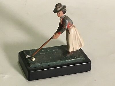 Antique Golf Desk Paper Weight Figure Lady Golfer With Club & Ball Cold Painted