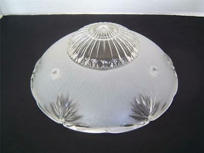 Antique 3 Chain Hanging Ceiling Light Fixture White Frost Clear Art Glass Shade