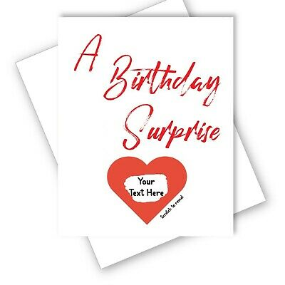 A Birthday Surprise Card -  Heart Scratch Off Reveal - Personalised Message