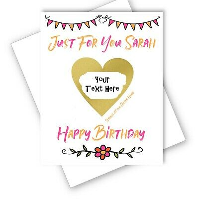 Happy Birthday -Surprise Card -  Heart Scratch Off Reveal - Personalised Message