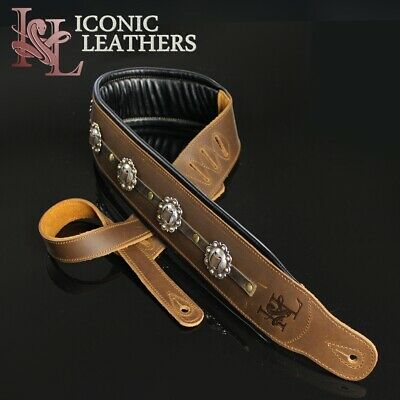 "Iconic CUSTOM SHOP Conchos 3.25"" Leather Padded Brown Guitar or Bass Strap #2"
