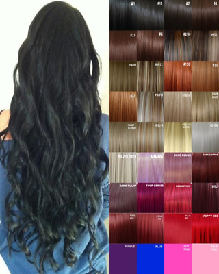 Clip in Hair Extension Human Feel Jet Black Brown White Blonde Highlight Ash Red