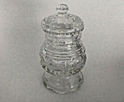 Vintage crystal covered glass jelly or jam jar, condiment jar, mustard jar w lid