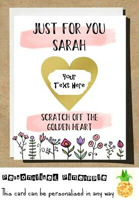 Just For You - Surprise Card - Love Heart Scratch Off Reveal - Personalised