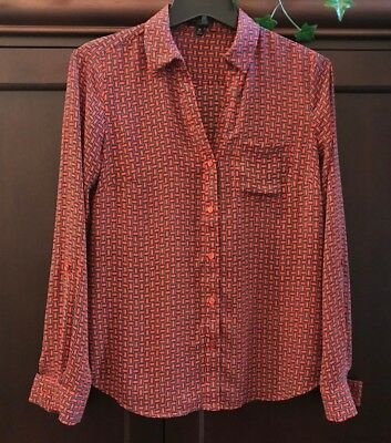 The Limited Ashton Red Black Button Front Long Sleeve Blouse X-Small Excellent