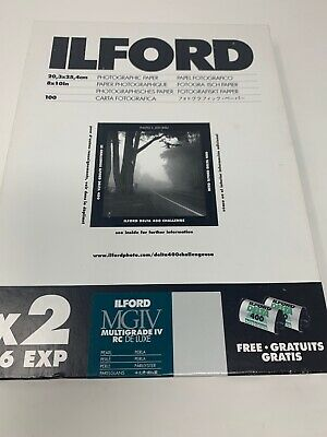 Ilford Multigrade Photo Paper IV RC DeLuxe 8x10in. 100qty- SEALED & ilfospeed