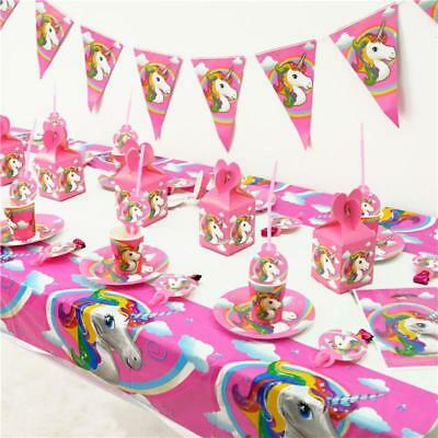 Unicorn Theme Banner Tablecloth Card Cupcake Masks Bags Gifts Party Decor Set