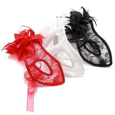 3832ed7e34d3 Feather Lace Flower Eye Mask Masquerade Ball Costume Party Fancy Dress CF