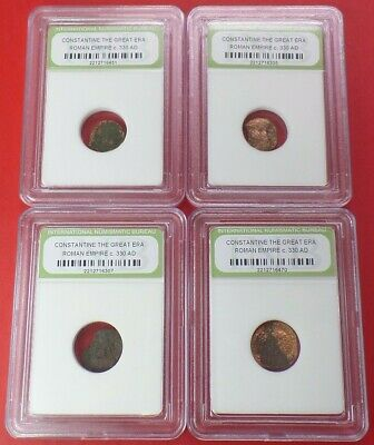 LOT of 4 SLABBED ANCIENT ROMAN EMPIRE COINS 330 AD Constantine the Great Era