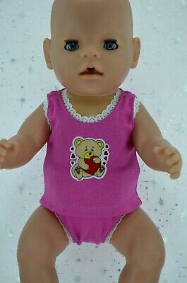 "Play n Wear Doll Clothes To Fit 17"" Baby Born HOT PINK SINGLET~KNICKERS"