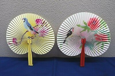 "Two Vintage Asian Accordion Hand Held Paper Fans ""The Peoples Republic of China"""