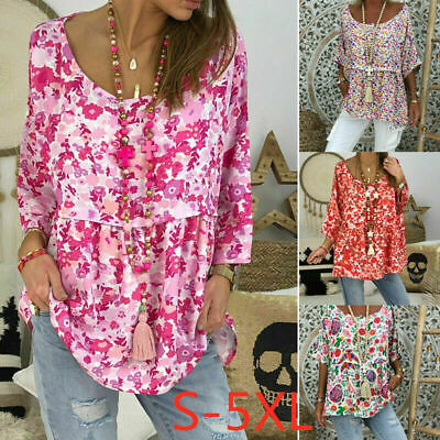 Summer Casual Women Floral T-Shirt Ladies 3/4 Sleeve Tops Blouse plus size 12-24