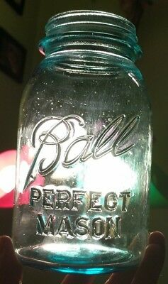 Vintage Unusual Ball Perfect Mason Blue Jar Tons Of Tiny Bubbles Thick Embossing