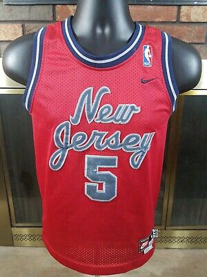 pretty nice 62da4 a913f VINTAGE KIDS JASON KIDD #5 New Jersey Nets Red YOUTH Jersey ...